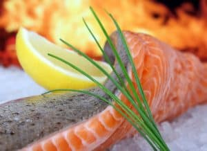 closeup of salmon and lemon